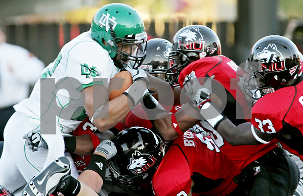 Rob Winner – rwinner@daily-chronicle.com<br /> <br /> North Dakota running back Josh Murray is denied the end zone on fourth down while trying to run it in during the first quarter in DeKalb, Ill. on Saturday September 11, 2010. Northern Illinois defeated North Dakota 24-17.