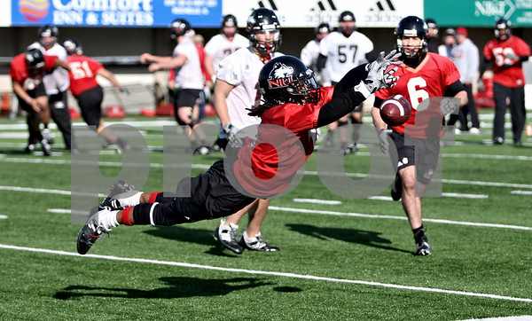 Rob Winner – rwinner@daily-chronicle.com<br /> <br /> Perez Ashford makes a diving attempt for an interception during NIU football practice on Tuesday March 23, 2010 in DeKalb, Ill.