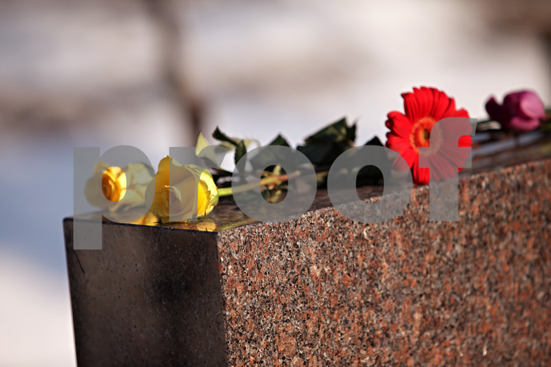 Beck Diefenbach – bdiefenbach@daily-chronicle.com<br /> <br /> Flowers lay on the memorial following the wreath laying on NIU's campus in DeKalb, Ill., on Sunday Feb. 14, 2010.