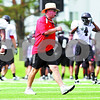 Rob Winner – rwinner@daily-chronicle.com<br /> <br /> NIU coach Jerry Kill blows his  whistle during practice on Friday August 13, 2010 at Huskie Stadium in DeKalb, Ill.