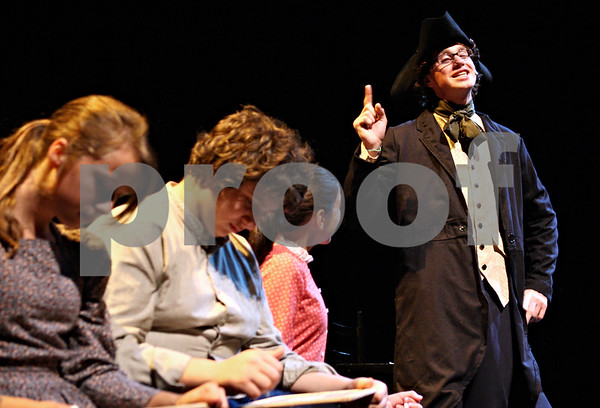 """Rob Winner – rwinner@daily-chronicle.com<br /> <br /> Dominic Johnson (right), playing Ichabod Crane in """"The Legend of Sleepy Hollow,"""" practices his lines at the Egyptian Theatre in DeKalb, Ill. during rehearsal on Tuesday September 21, 2010."""