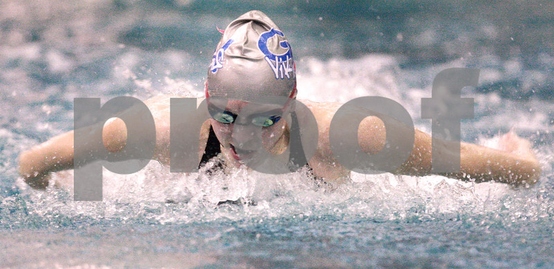 Kyle Bursaw – kbursaw@daily-chronicle.com<br /> <br /> Lauren Knop swims the 100 butterfly and posts a time of 1:02.26 at St. Charles North High School on Nov. 13, 2010.