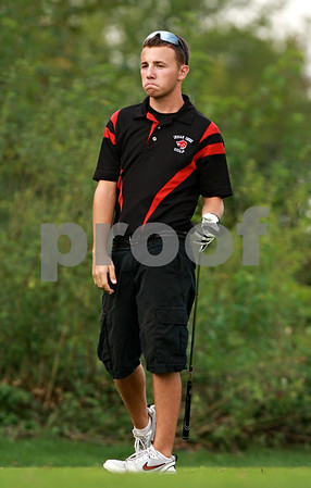 Beck Diefenbach – bdiefenbach@daily-chronicle.com<br /> <br /> Indian Creek's Tyler Leiving reacts after he tees off on the 17th hole during the Little 10 Conference Meet at the Hughes Creek Golf Course in Elburn, Ill., on Wednesday Sept. 22, 2010.