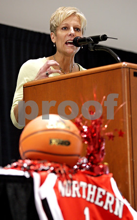Beck Diefenbach  -  bdiefenbach@daily-chronicle.com<br /> <br /> New Northern Illinois women's head coach Kathi Bennett talks to members of the public and media following her introduction at the NIU Convocation Center in DeKalb, Ill., on Tuesday May 18, 2010.