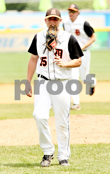 Rob Winner – rwinner@daily-chronicle.com<br /> <br /> DeKalb pitcher Ben Dallesasse reacts at the end of the fifth inning after Chatham Glenwood scored two more runs during the IHSA Class 3A championship in Joliet, Ill. on Saturday June 12, 2010. Chatham Glenwood defeated DeKalb, 11-1, in six innings.