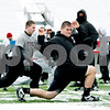 Rob Winner – rwinner@daily-chronicle.com<br /> <br /> Northern Illinois offensive lineman Joe Pawlak stretches during practice on Thursday afternoon at Huskie Stadium in DeKalb.
