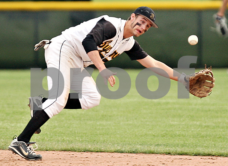 Beck Diefenbach  -  bdiefenbach@daily-chronicle.com<br /> <br /> Sycamore's Eric Ray (5) cannot catch up to a line drive during the seventh inning of the game against Kaneland at Kishwuakee College in Malta, Ill., on Friday May 14, 2010.