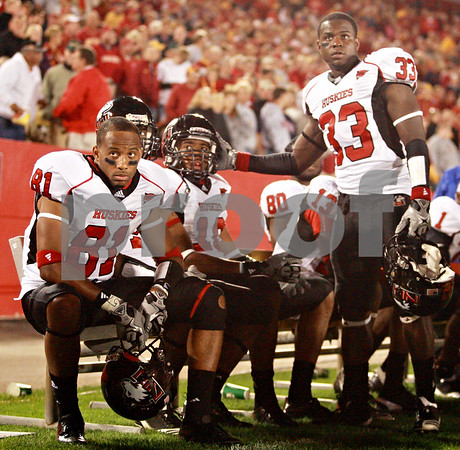 Beck Diefenbach  -  bdiefenbach@daily-chronicle.com<br /> <br /> (From left) Northern Illinois wide receiver Nathan Palmer (81), wide receiver Willie Clark (10) and corner back Patrick George (33) watch the score board as Iowa State winds down the clock during the fourth quarter of the game at Jack Trice Stadium on the campus of Iowa State University in Ames, Iowa, on Thursday Sept. 2, 2010. Iowa State defeated Northern Illinois 27 to 10.
