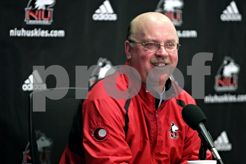 Rob Winner – rwinner@daily-chronicle.com<br /> Northern Illinois football head coach Jerry Kill answers questions from the media for National Signing Day during a press conference at the Yordon Center in DeKalb, Ill. on Wednesday February 3, 2010.