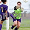 Beck Diefenbach  -  bdiefenbach@daily-chronicle.com<br /> <br /> Mendota goal keeper Julie Jenkins attempts to stop the ball during the first half of the game against H-BR at H-BR in Hinckley, Ill., on Tuesday May 18, 2010.