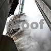 Beck Diefenbach  -  bdiefenbach@daily-chronicle.com<br /> <br /> Steam blows off one of the corn dryer silos at the Elburn Cooperative Company in maple Park, Ill., on Wednesday Jan. 27, 2010.