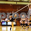 Rob Winner – rwinner@daily-chronicle.com<br /> <br /> Kaneland's Jessica Lubic (9) is unable to get to a ball allowing a DeKalb point during the first game in DeKalb, Ill. on Tuesday October 12, 2010. DeKalb went on to defeat Kaneland, 25-18 and 25-11.
