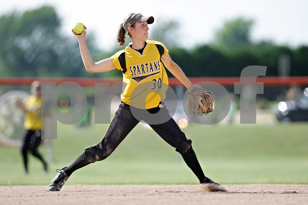 Rob Winner – rwinner@daily-chronicle.com<br /> <br /> Sycamore's Anna Buzzard fires to first after nabbing a grounder in the second inning of the IHSA Class 3A DeKalb Sectional semifinal on Wednesday June 2, 2010 in DeKalb, Ill.