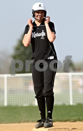 Beck Diefenbach  -  bdiefenbach@daily-chronicle.com<br /> <br /> Kaneland's Katy Dudzinski reacts after hitting a double during the first inning of the game at Sycamore High School in Sycamore, Ill., on Tuesday April 20, 2010. Kaneland defeated Sycamore 10 to 0 in six innings.