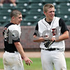 Beck Diefenbach  -  bdiefenbach@daily-chronicle.com<br /> <br /> DeKalb pitcher Jake Lemay (left) and catcher Ben Dallesasse begin icing their shoulders after defeating Marian Central in the IHSA Class 3A State Semifinal Game in Joliet, Ill., on Friday June 11, 2010.