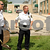 Beck Diefenbach  -  bdiefenbach@daily-chronicle.com<br /> <br /> Sycamore Police Chief Don Thomas, left and Lt. Darrell Johnson hold shovels of dirt during the formal ground breaking for the new Sycamore Police Department building on Wednesday June 23, 2010.