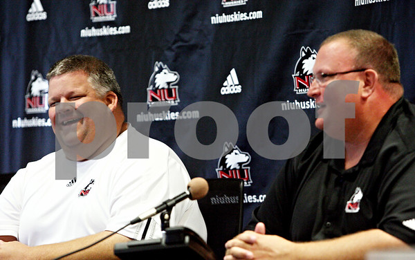 Rob Winner – rwinner@daily-chronicle.com<br /> <br /> Football offensive coordinator Matt Limegrover (left) and defensive coordinator Tracy Claeys, of Northern Illinois University, take turns speaking during a press conference on Tuesday September 14, 2010 in DeKalb, Ill.