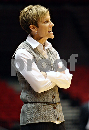Rob Winner – rwinner@daily-chronicle.com<br /> <br /> Northern Illinois head coach Kathi Bennett tries to communicate to her team during the first half in DeKalb, Ill. on Tuesday, Dec. 28, 2010.