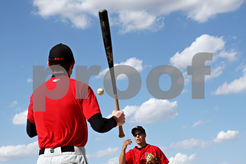 Beck Diefenbach  -  bdiefenbach@daily-chronicle.com<br /> <br /> Indian Creek catcher Reece Bend (bottom) tosses a ball to his coach during warm-ups before their game against Somonaulk in Shabbona, Ill., on Tuesday May 4, 2010.