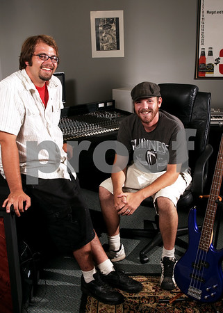 Beck Diefenbach  -  bdiefenbach@daily-chronicle.com<br /> <br /> Owners and engineers Jon Dolieslager (left) and Sean Scanlon in their recording studio at Audio Brew in DeKalb, Ill.