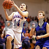 Beck Diefenbach  -  bdiefenbach@daily-chronicle.com<br /> <br /> Hinckley-Big Rock Kaitlin Phillips (14) shoots the ball during the fourth quarter of the game against Newark at H-BR High School in Hinckley, Ill., on Thursday Jan. 14, 2010. H-BR defeated Newark 46 to 30.