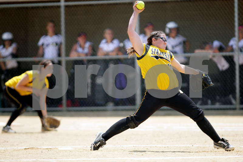 Rob Winner – rwinner@daily-chronicle.com<br /> <br /> Sycamore's Abby Foulk delivers a pitch in the third inning of the IHSA Class 3A Sycamore Regional championship game on Saturday May 29, 2010 in Sycamore, Ill. Sycamore went on to defeat Kaneland, 6-3.