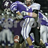 Rob Winner – rwinner@daily-chronicle.com<br /> <br /> Rochelle's Roman Martinez (16) fumbles the ball after a hit by DeKalb's Troy Talaga during the second quarter in Rochelle, Ill.  on Friday October 22, 2010. The Barbs recovered the ball for a turnover.