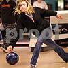 Beck Diefenbach  -  bdiefenbach@daily-chronicle.com<br /> <br /> DeKalb senior Kellie Ratfield releases her ball during bowling practice at Mardi Gras Lanes in DeKalb, Ill., on Tuesday Feb. 9, 2010.