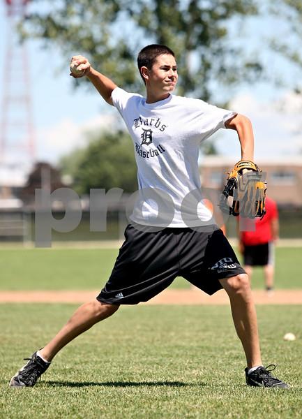 Rob Winner – rwinner@daily-chronicle.com<br /> <br /> Luke Hayes of the DeKalb baseball fires the ball to home during practice on Wednesday June 9, 2010 in DeKalb, Ill.