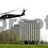 Rob Winner – rwinner@daily-chronicle.com<br /> <br /> A Black Hawk helicopter takes off from a lacrosse field just north of the Convocation Center in DeKalb, Ill. on Friday April 16, 2010.