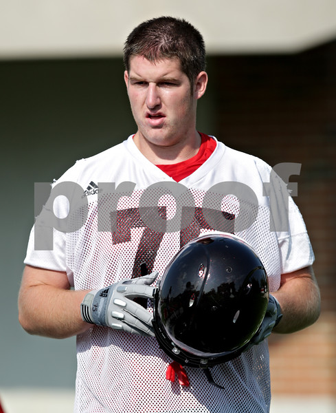 Beck Diefenbach - bdiefenbach@daily-chronicle.com<br /> <br /> Northern Illinois offensive lineman Tyler Loos during the first practice at Huskie Stadium in DeKalb, Ill., on Thursday Aug. 5, 2010.