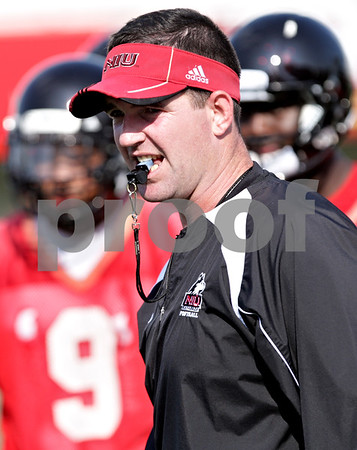 Beck Diefenbach - bdiefenbach@daily-chronicle.com<br /> <br /> Northern Illinois linebackers coach Tom Matukewicz during the first practice at Huskie Stadium in DeKalb, Ill., on Thursday Aug. 5, 2010.