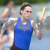 Rosary's Grace Petry runs the first leg of the 4x200 meter relay Friday at the Class 2A State Track Meet in Charleston.