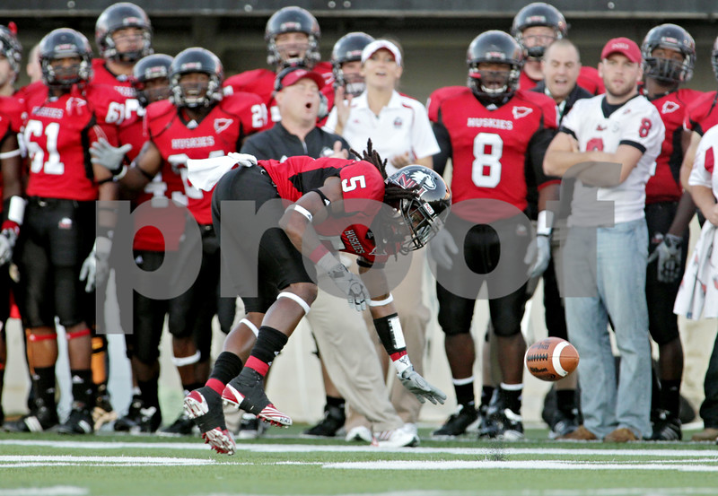 Rob Winner – rwinner@daily-chronicle.com<br /> <br /> Northern Illinois cornerback Chris Smith is unable to intercept a North Dakota pass during the first quarter in DeKalb, Ill. on Saturday September 11, 2010. Northern Illinois defeated North Dakota 23-17.