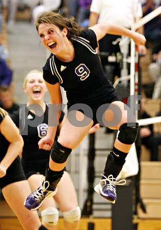 Rob Winner – rwinner@daily-chronicle.com<br /> <br /> Hampshire's Arianna Rominski celebrates after scoring the winning point in the second game against Kaneland in Maple Park, Ill. on Thursday October 28, 2010. Hampshire went on to defeat Kaneland in three games.