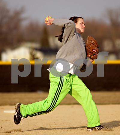 Beck Diefenbach  -  bdiefenbach@daily-chronicle.com<br /> <br /> Indian Creek junior Anna Striker thorws the ball during practice at Indian Creek High School in Shabbona, Ill., on Friday March 19, 2010.
