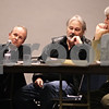 Beck Diefenbach  -  bdiefenbach@daily-chronicle.com<br /> <br /> (From left) Attorney Clay Cambell, Mac McIntyre and Dan Kenny argue against proposal to expand the DeKalb County Landfill during the open hearing at Kishwaukee College in Malta., Ill., on Monday March 1, 2010.
