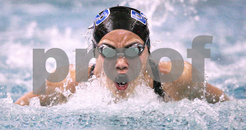 Kyle Bursaw – kbursaw@daily-chronicle.com<br /> <br /> Rachel Lee of BART competes in the girls 100-yard butterfly at St. Charles North High School in St. Charles on Saturday Nov. 13, 2010.