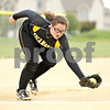 Beck Diefenbach  -  bdiefenbach@daily-chronicle.com<br /> <br /> Sycamore pitcher Abby Foulk (10) snags a ground ball before during the first inning of the game against DeKalb at Sycamore High School in Sycamore, Ill., on Monday May 10, 2010.