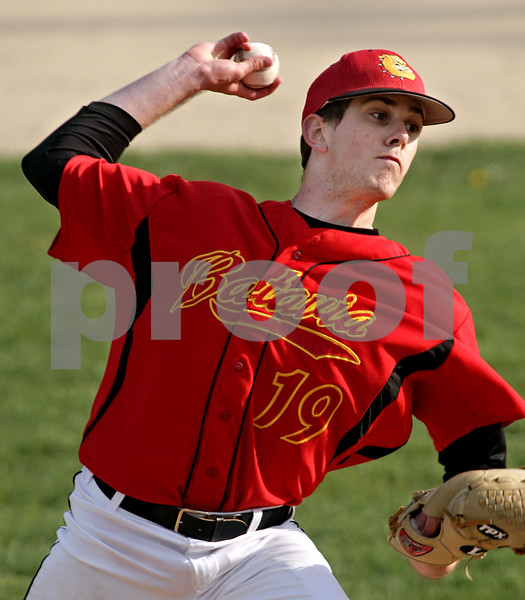 Beck Diefenbach  -  bdiefenbach@daily-chronicle.com<br /> <br /> Batavia pitcher Matt Taylor (19) winds up during the the third inning of the game against Sycamore at Sycamore Park in Sycamore, Ill., on Wednesday April 21, 2010. Batavia defeated Sycamore 4 to 2.