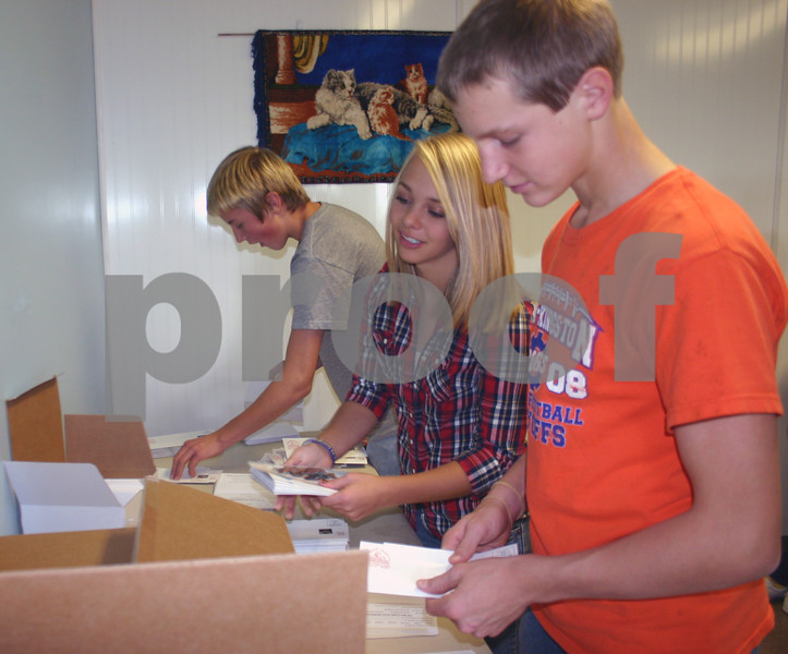 Genoa Prairie Gem 4-H'ers Trevor Carroll, 11, Megan McCausland, 14, and Mike Kuhn, 14, help stuff envelopes as part of a service project at the Dekalb County Animal Shelter Friday.<br /> <br /> By NICOLE WESKERNA nweskerna@daily-chronicle.com