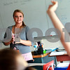 Beck Diefenbach  -  bdiefenbach@daily-chronicle.com<br /> <br /> Northern Illinois University student Randi Goff introduces herself to a spanish class which she will be co-teaching at DeKalb High School in DeKalb, Ill., on Tuesday Aug. 31, 2010.