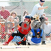 Rob Winner – rwinner@daily-chronicle.com<br /> <br /> Stillman Valley's Tessa Mollet (left) is called out at home after the tag was successfully applied by Genoa-Kingston catcher Emily Wakeley in the first inning during the IHSA Class 2A Byron Regional final in Byron, Ill. on Saturday May 22, 2010. Stillman Valley went on to defeat Genoa-Kingston, 5-2, ending their season.