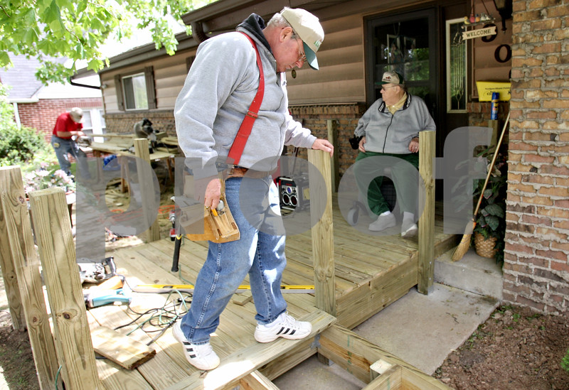 Rob Winner – rwinner@daily-chronicle.com<br /> <br /> Dick Zenzen (left), of DeKalb, helps build a ramp for fellow Mason, Don Seitzinger, at his home in DeKalb, Ill. on Saturday May 1, 2010.