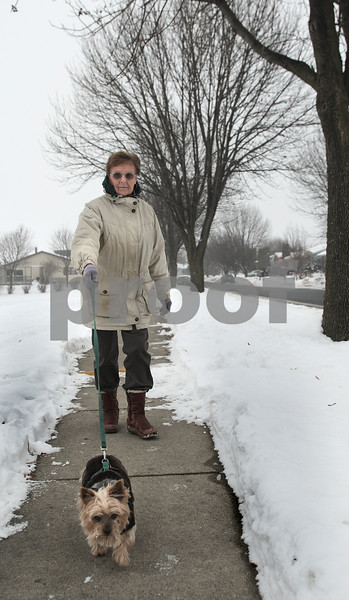 Kyle Bursaw – kbursaw@daily-chronicle.com<br /> <br /> Janice Moorer walks her Yorkshire Terrier Clyde in Sycamore, Ill. on  Wednesday, Dec. 29, 2010.