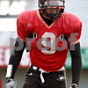 Rob Winner – rwinner@daily-chronicle.com<br /> <br /> NIU middle linebacker Devon Butler works out during practice at Huskie Stadium in DeKalb, Ill. on Thursday April 8, 2010.