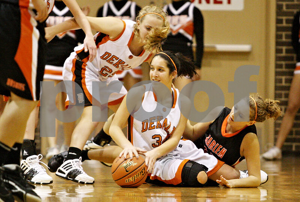 Rob Winner – rwinner@daily-chronicle.com<br /> <br /> DeKalb's Rachel Torres tries to control a ball in the first quarter on Tuesday November 16, 2010 in DeKalb, Ill.