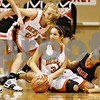 Rob Winner – rwinner@daily-chronicle.com<br /> <br /> DeKalb's Rachel Torres tries to control a ball in the first quarter on Tuesday November 16, 2010 in DeKalb, Ill.