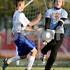 Rob Winner – rwinner@daily-chronicle.com<br /> <br /> Hinckley-Big Rock's Bernie Conley is unable to get his shot by Stillman Valley goalkeeper Andrew Larson in the second half of their IHSA Class 1A regional championship game in Waterman, Ill. on Tuesday October 19, 2010. Stillman Valley went on to defeat Hinckley-Big Rock, 1-0.