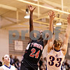 Beck Diefenbach  -  bdiefenbach@daily-chronicle.com<br /> <br /> Indian Creek's Michelle Crayton (24, center) shoots the ball during the third quarter of the Little 10 Tournament semi-final game at H-BR in Hinckley, Ill., on Thursday Jan. 21, 2010. H-BR defeated Indian Creek 69 to 34.